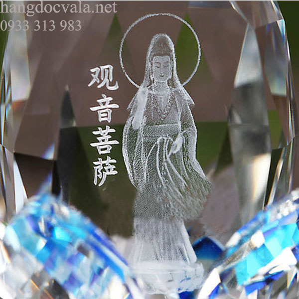 Đèn hoa sen pha lê Phật Bà Quan Âm tỏa hương