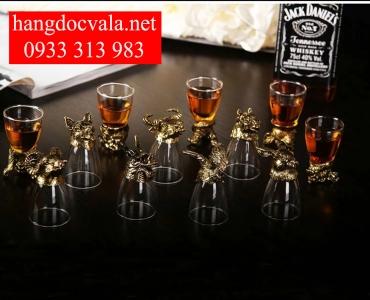 Bộ ly uống rượu 12 con giáp mạ vàng