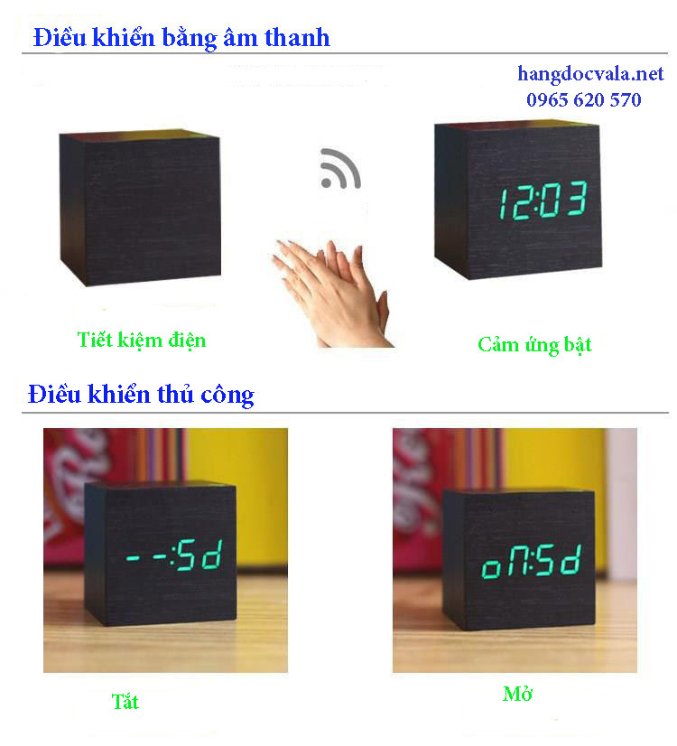 Đồng hồ led để bàn cục gỗ cảm biến âm thanh