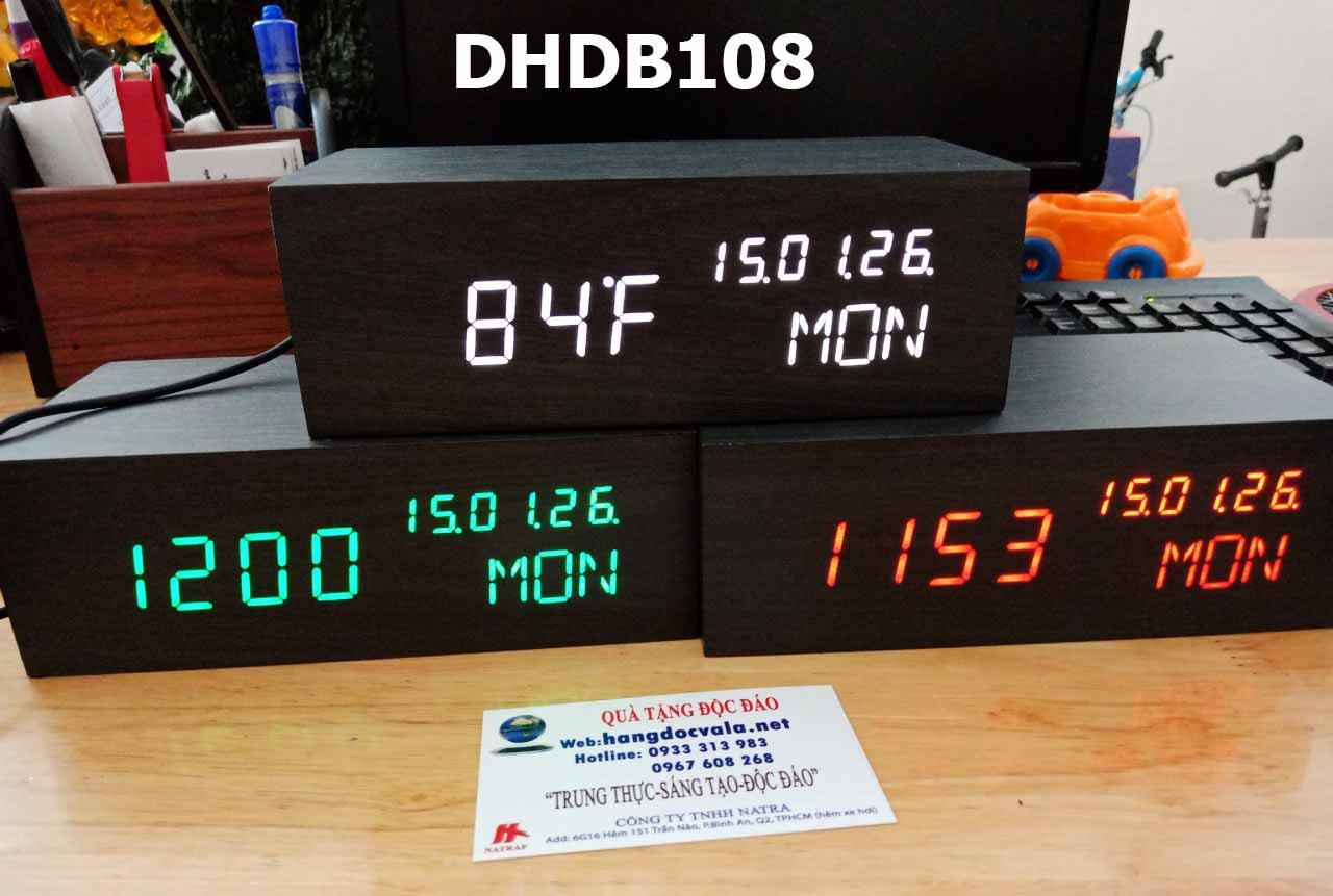 đồng hồ để bàn led gỗ