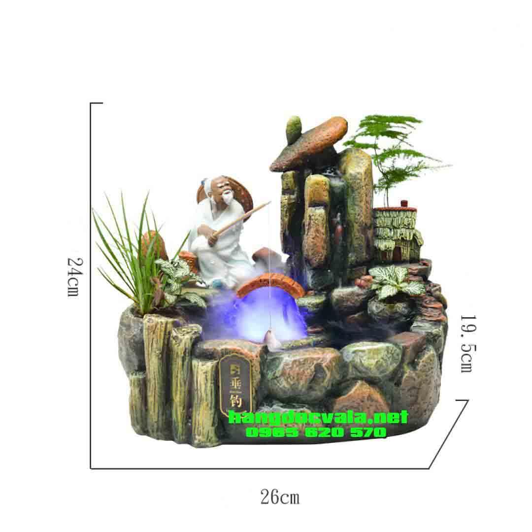 Hòn non bộ mini có thác nước-Cụ già thong thả buông cần trúc